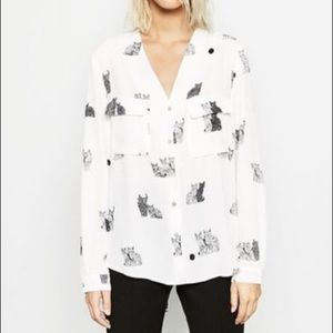 Zara Cat Print Tulip Back Button Up Lounge Top